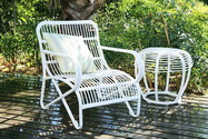 Rattan garden chair and table