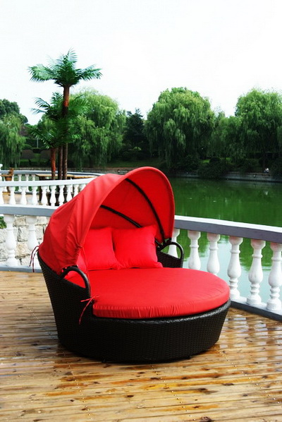 Garden outdoor furniture red round bed