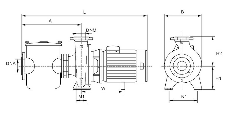 CENTRIFUGAL SWIMMING POOL PUMP dimension